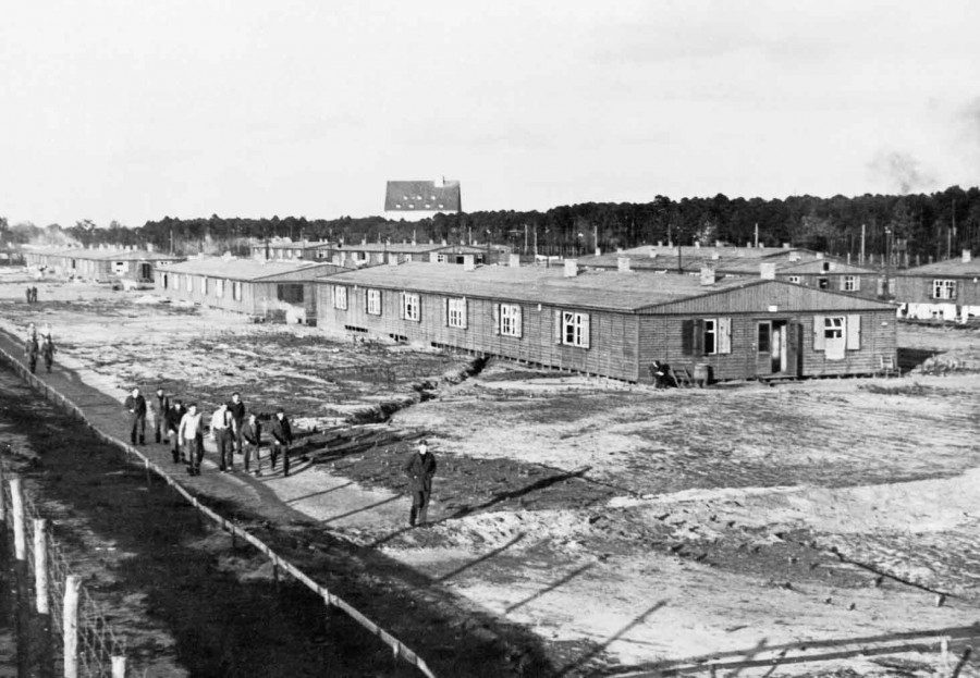 General view of the huts and compound at Stalag Luft III prisoner of war camp, scene of the 'Great Escape' in 1944. HU 21013 RAF PRISONERS OF WAR IN SAGAN POW CAMP, GERMANY 1939 - 1945