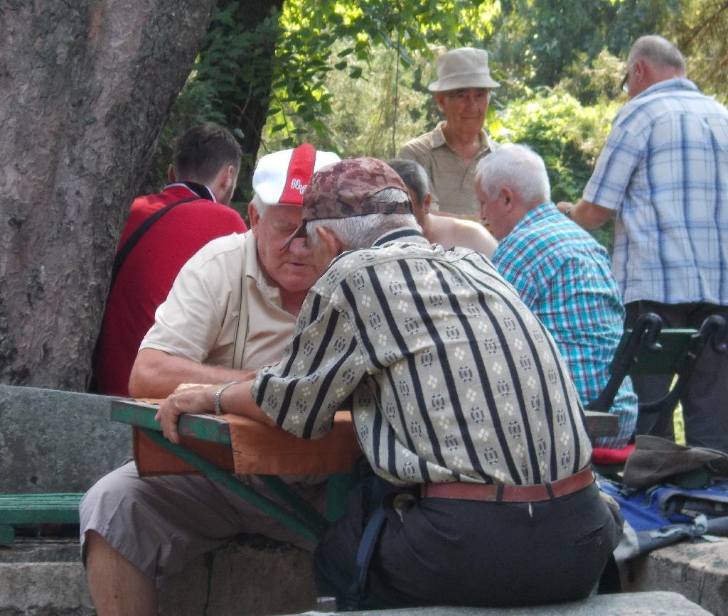 Doi batrani joaca table in Cismigiu Bucuresti