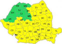 Cod galben de ploi în 35 de județe și București