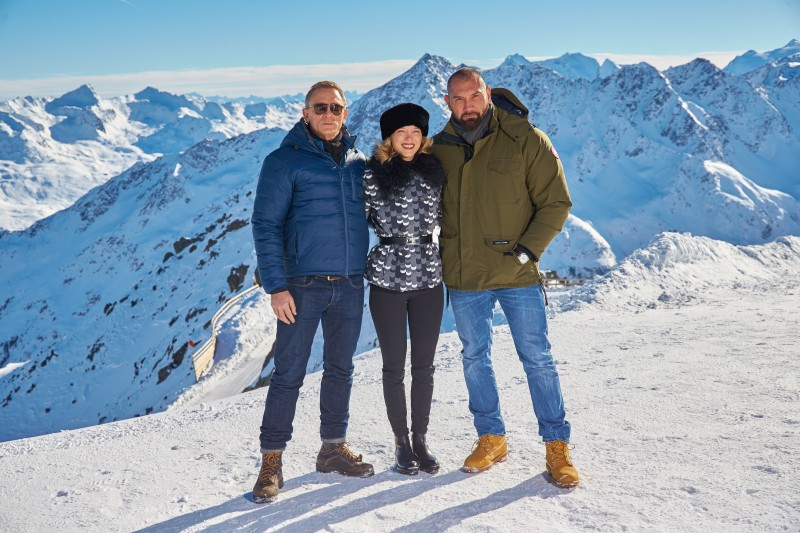 EON Productions, Metro-Goldwyn-Mayer and Sony Pictures Entertainment commence filming in Sšlden, Austria for the 24th James Bond adventure SPECTRE.  Pictured: (L to R) Daniel Craig, LŽa Seydoux, Dave Bautista Copyright:  © 2015 Columbia TriStar Marketing Group, Inc. and MGM Studios. All rights reserved. Photo Credit: Alexander Tuma