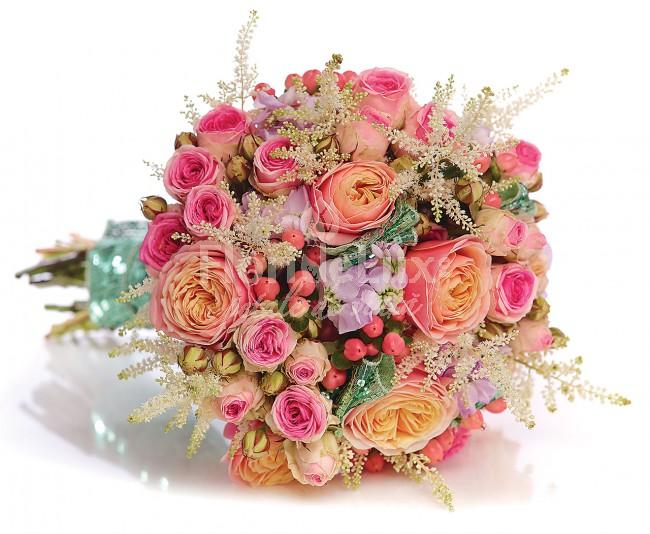 FlorideLUX buchete de mireasa trandafiri piersica