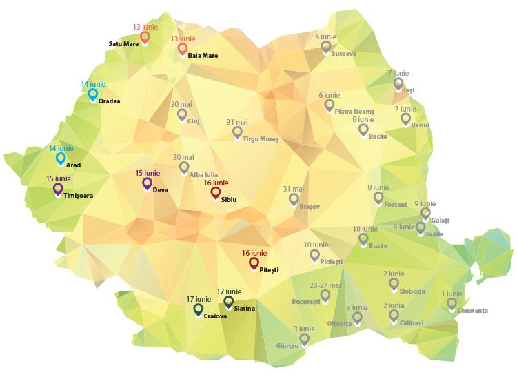 În ce orașe ajung cănile Europa FM în săptămâna 13 – 19 iunie – HARTA ORAȘELOR