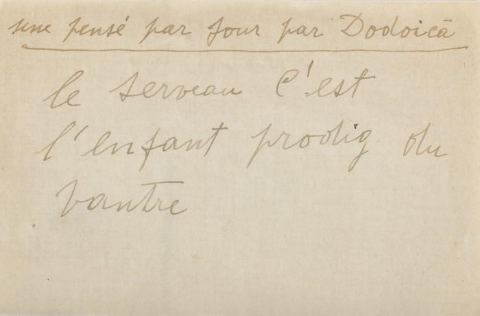 bilet-manuscris-aforism-redactat-de-dodoica-constantin-brancusi-creierul-este-fiul-risipitor-al-pantecului