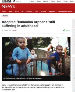 Studiu: Mulţi copii români adoptaţi în M. Britanie la începutul anilor '90 au probleme de sănătate mintală ca adulţi